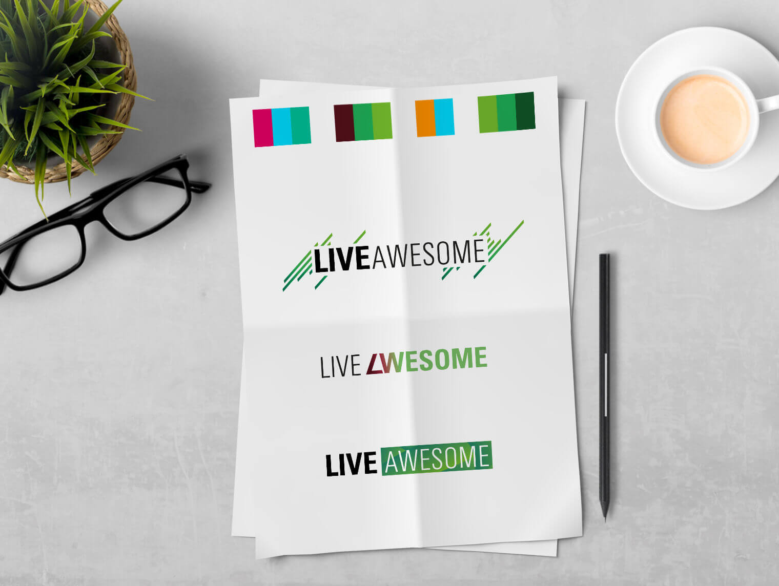 LIVE AWESOME: Logovarianten