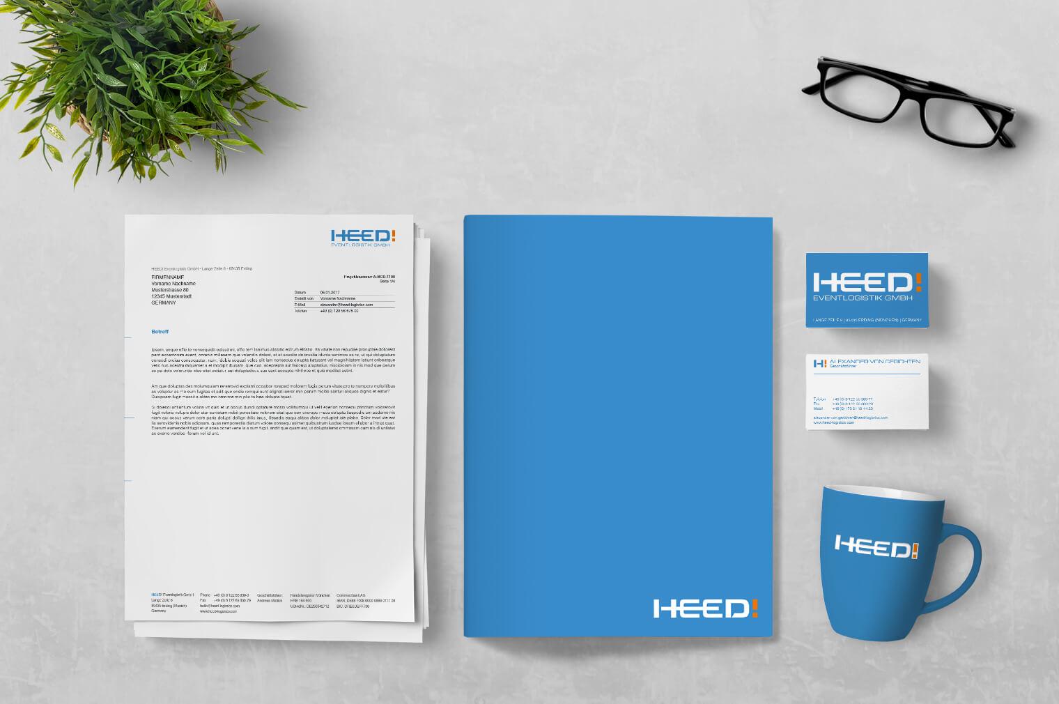 HEED! Eventlogistik Corporate Design Entwicklung: Geschäftsausstattung