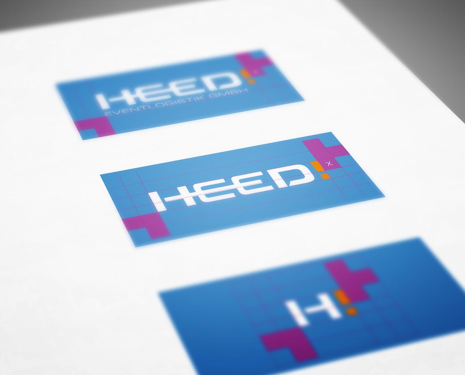 HEED! Eventlogistik Corporate Design Entwicklung: Logo Raster