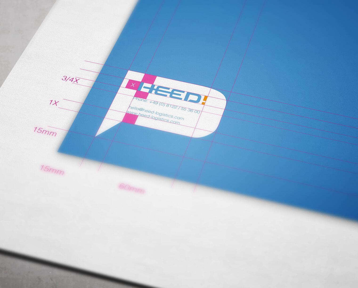 HEED! Eventlogistik Corporate Design Entwicklung: Vermaßung